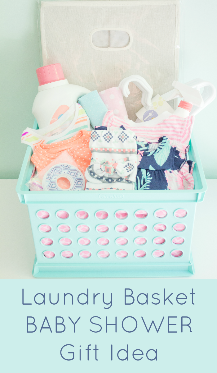 Laundry basket baby shower gift idea for girls