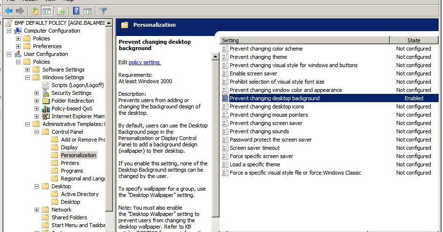LOGON 2 Tech: Prevent changing desktop background using