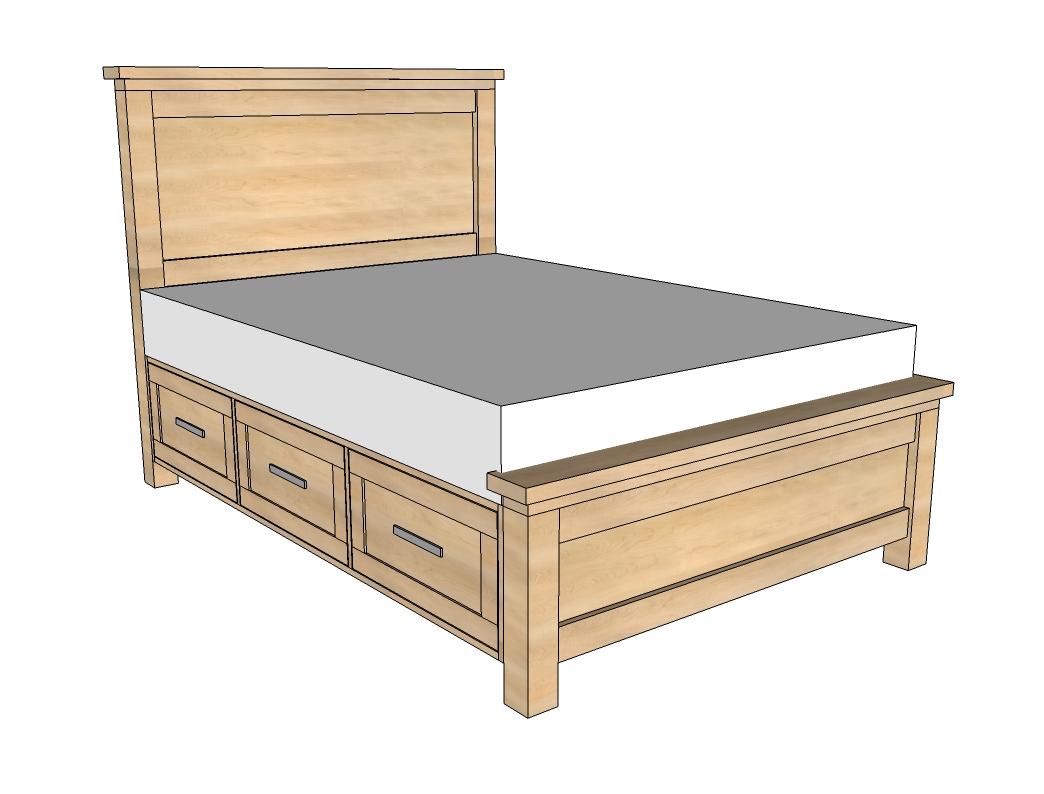 Faça você mesmo seus móveis de madeira: Cama com gavetas #9B6C30 1044x794