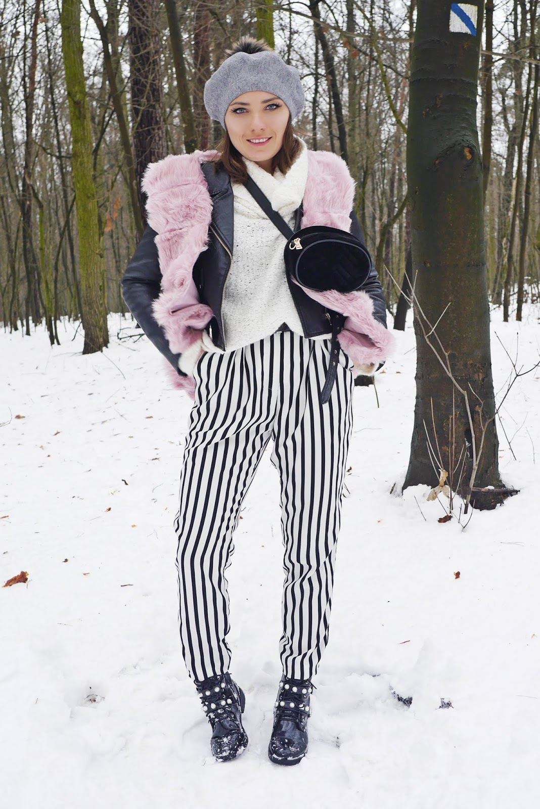 striped pants biker jacket pink vest outfit boots pearl karyn fashion blogger