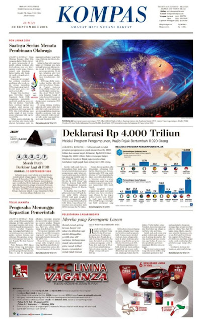 Kompas Edisi Jumat 30 September 2016