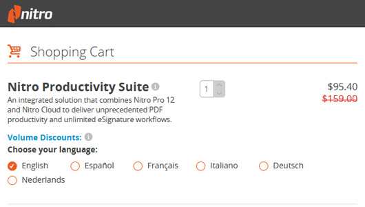 Nitro Productivity Suite- Nitro Pro 12 coupon discount