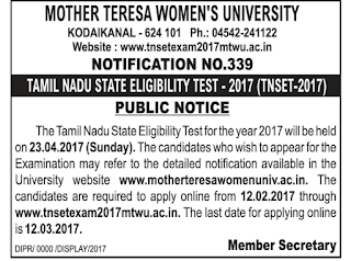tnset exam 2017 notifiction, online application website
