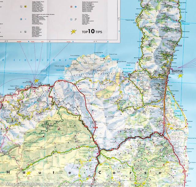Mapa rodoviário norte da Córsega