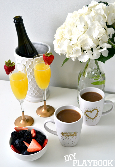 Gold Champagne Glasses Coffee Mugs Brunch Glamorous