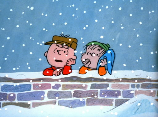 Charlie and Linus at the wall in A Charlie Brown Christmas 1965 animatedfilmreviews.blogspot.com