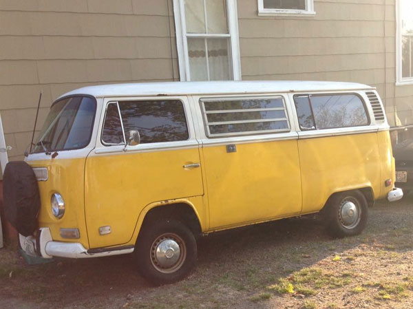 1972 VW Bus Yellow With White Top