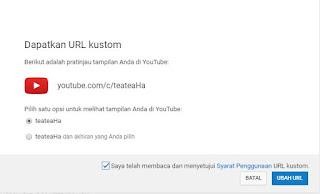 dapatkan url custom youtube channel