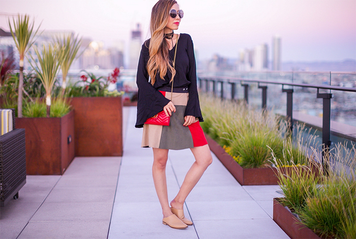 1state Colorblock Faux Suede A Line Miniskirt, colorblocked skirt, mini skirt, wayf bell sleeve blouse, baublebar little black choker, chloe sunglasses, gucci bag, everlane babo shoes, loafer, slides, san francisco fashion blog, san francisco street style