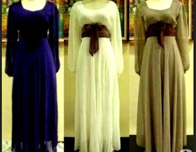 gaun pesta muslim polos dengan aksen ikat pinggang