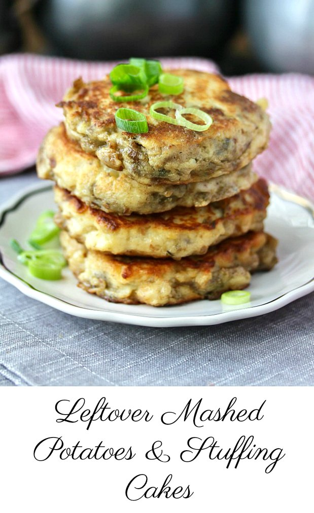 Leftover Mashed Potatoes and Stuffing Pancakes with scallions #leftovers #mashed potatoes #stuffing #thanksgiving #potatoecakes