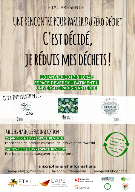 événement zéro déchet, rencontre zéro déchet, ateliers DIY, zero waste, éco-reponsable, environnement, développement durable, université paris nanterre, refuse, reduce, reuse, recycle, rot