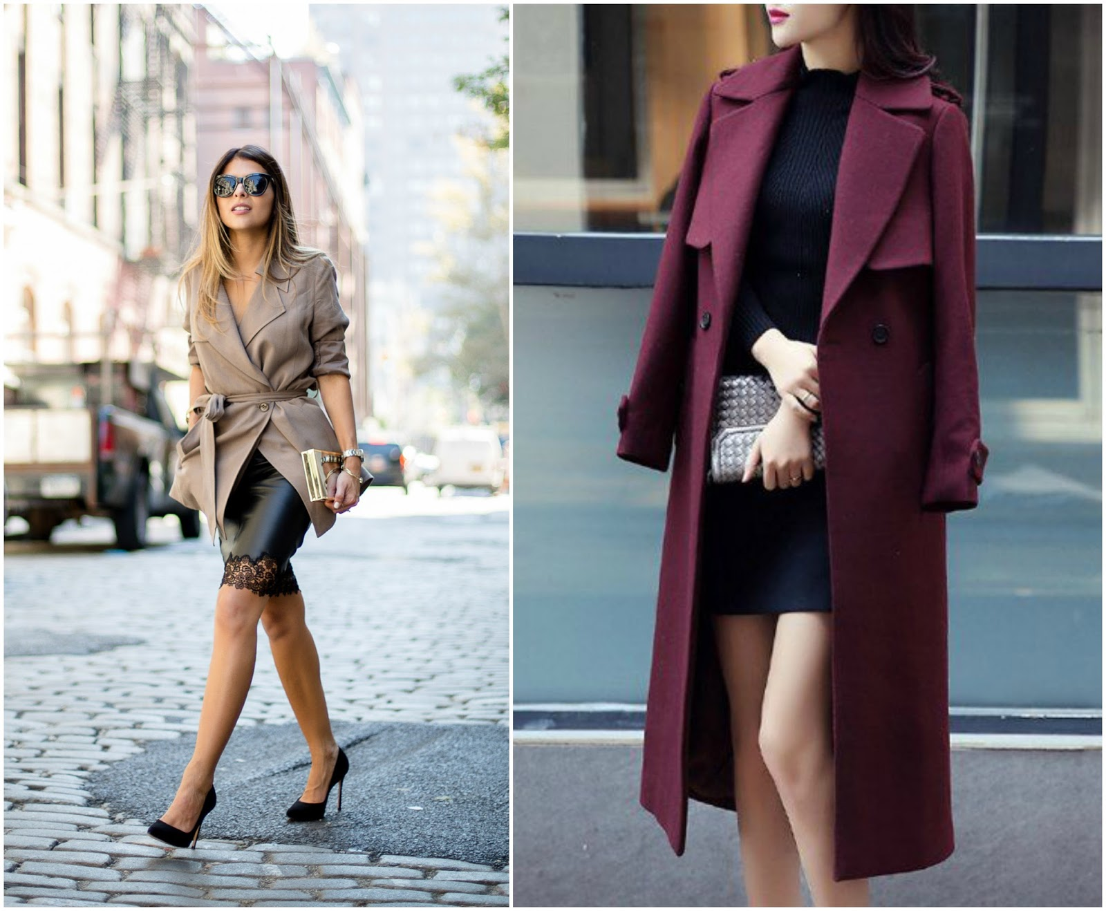 how to style a trench coat evening wear sexy vibe darker colours satiny fabrics draped over shoulders