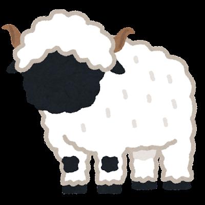 ヴァレーブラックノーズのイラスト(羊)