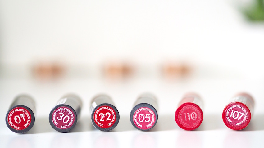 rimmel kate lipsticks come in a good selection of colours with nice pigmentation and longevity, good budget/drugstore lipsticks