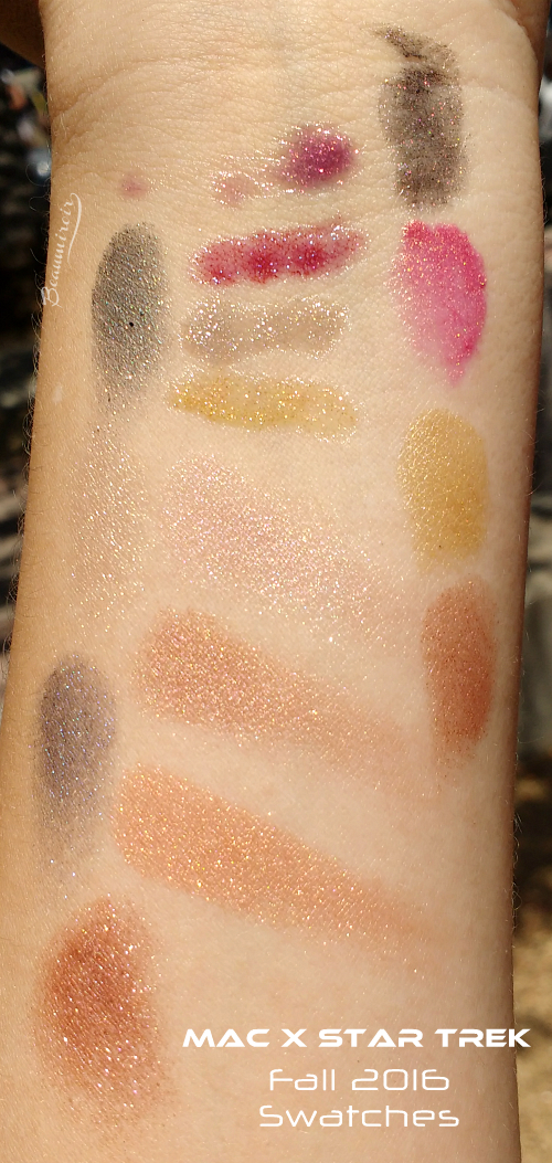 MAC Star Trek swatches all products lipstick pressed pigment trip the light fantastic powder lipglass