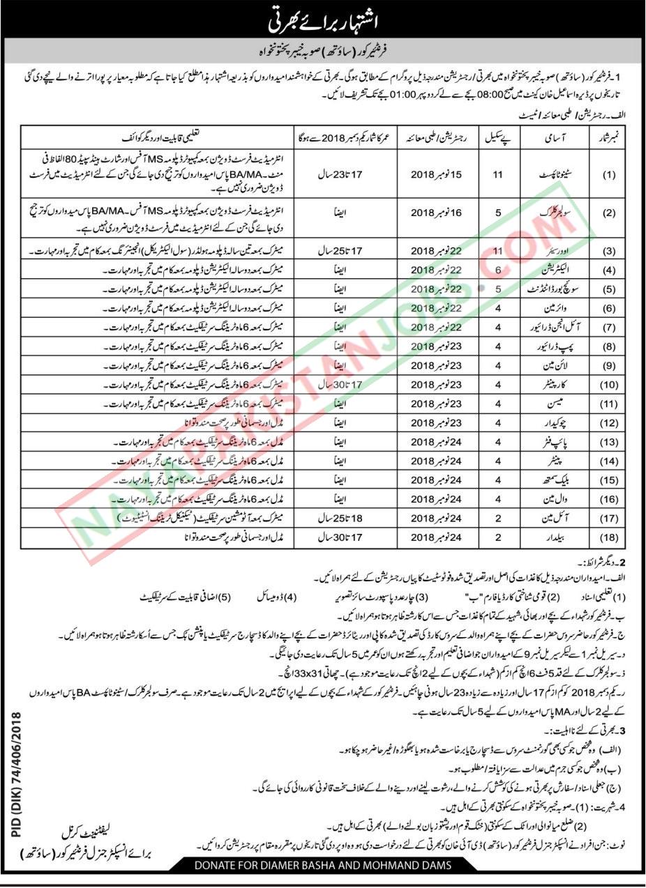 Latest Vacancies Announced in Frontier Corps Govt Of KPK 9 November 2018 - Naya Pakistan