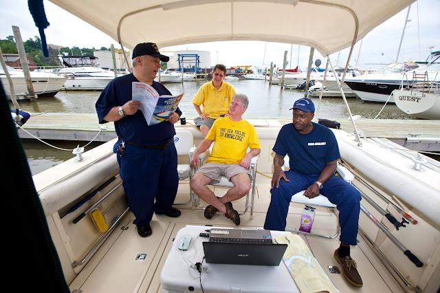 Lynn Glassman and Robert Daraio teaching a boating safety clas