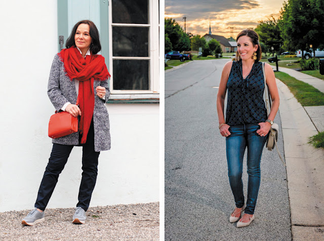 Кроссовки с серым жакетом и красным шарфом, остроносые балетки с джинсами и топом
