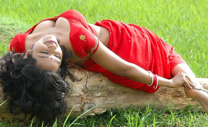 Hot Teertha Spicy Picture in Red Saree Blouse