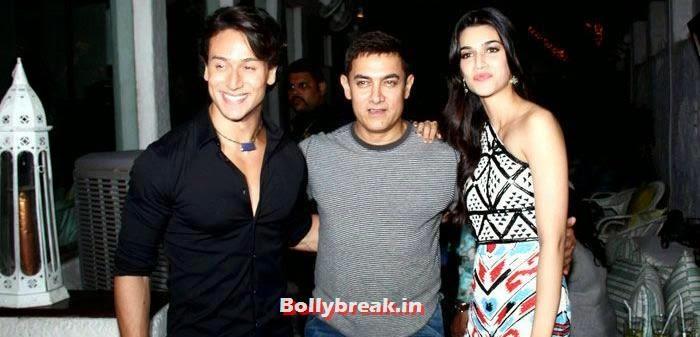 Tiger Shroff, Aamir Khan,  Kriti Sanon, Heropanti Success Party