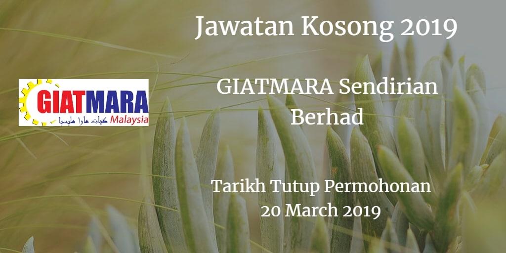 Jawatan Kosong GIATMARA Sendirian Berhad 20 March 2019