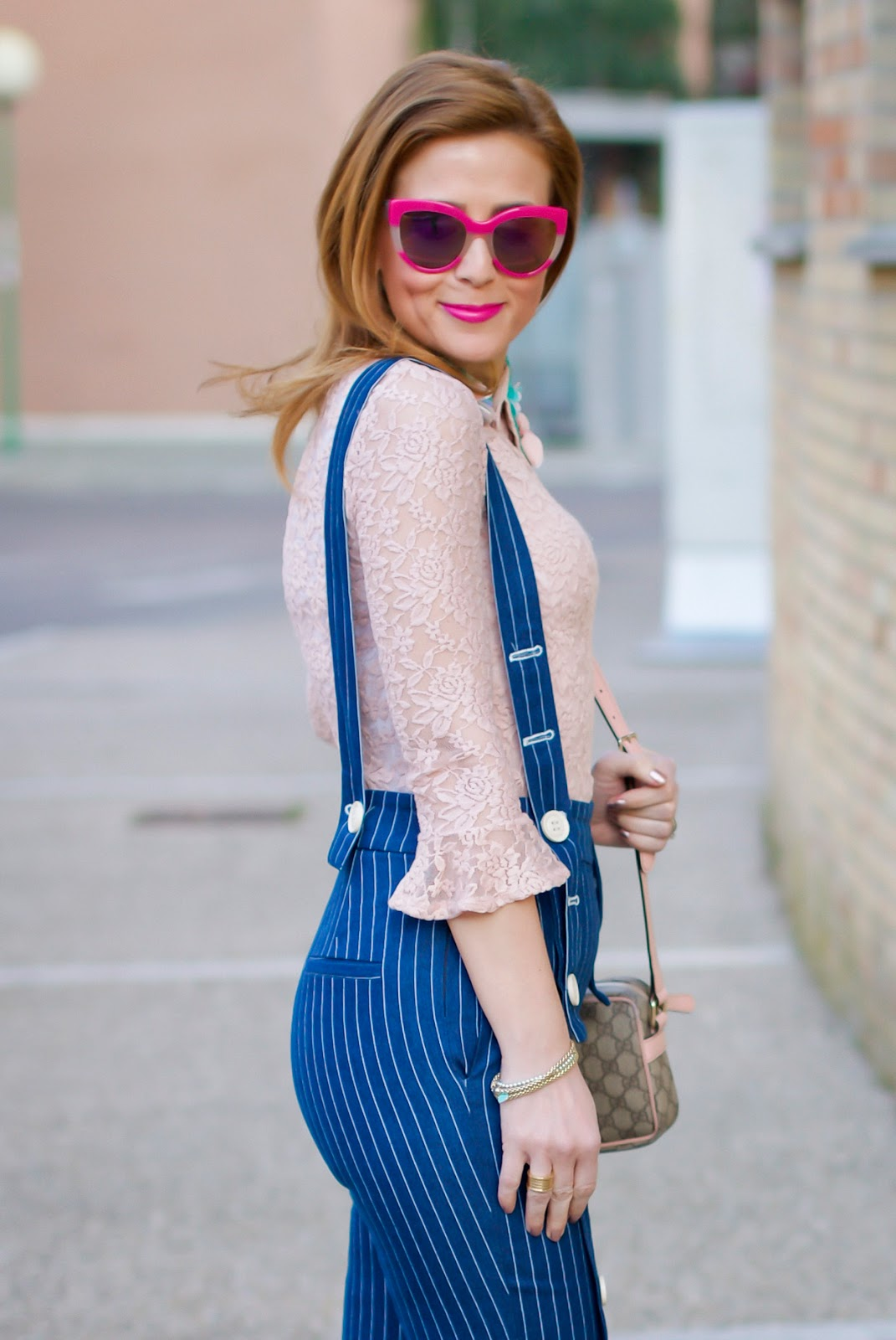 Metisu Pinstripe trousers with braces on Fashion and Cookies fashion blog, fashion blogger style