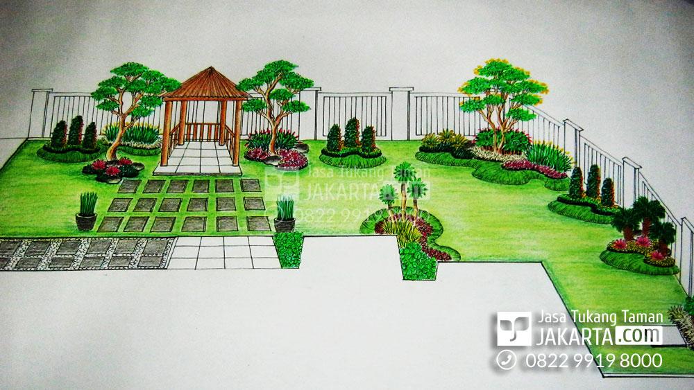Desain Sketsa Taman di Tangerang
