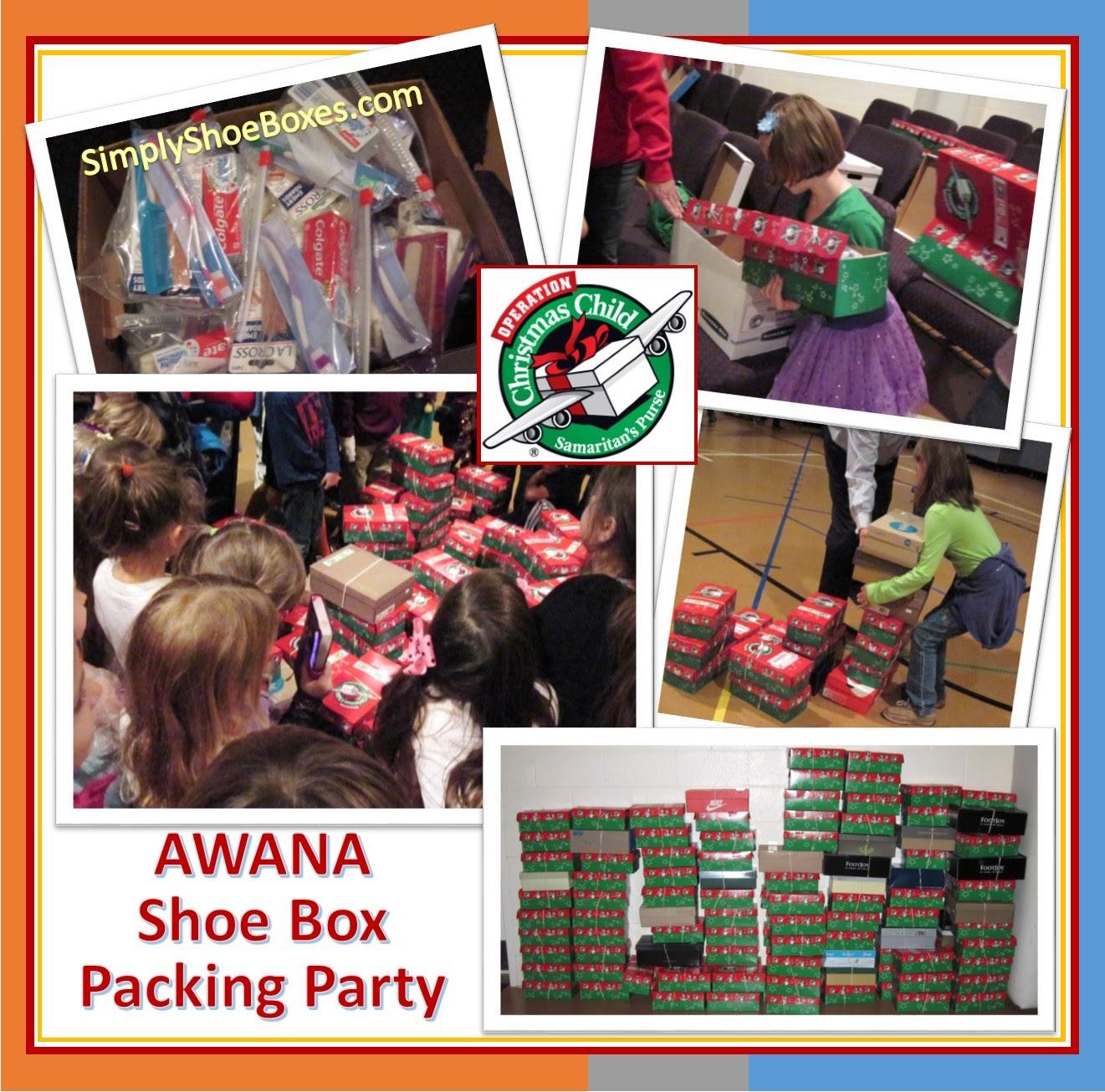 AWANA Operation Christmas Child shoebox packing party.