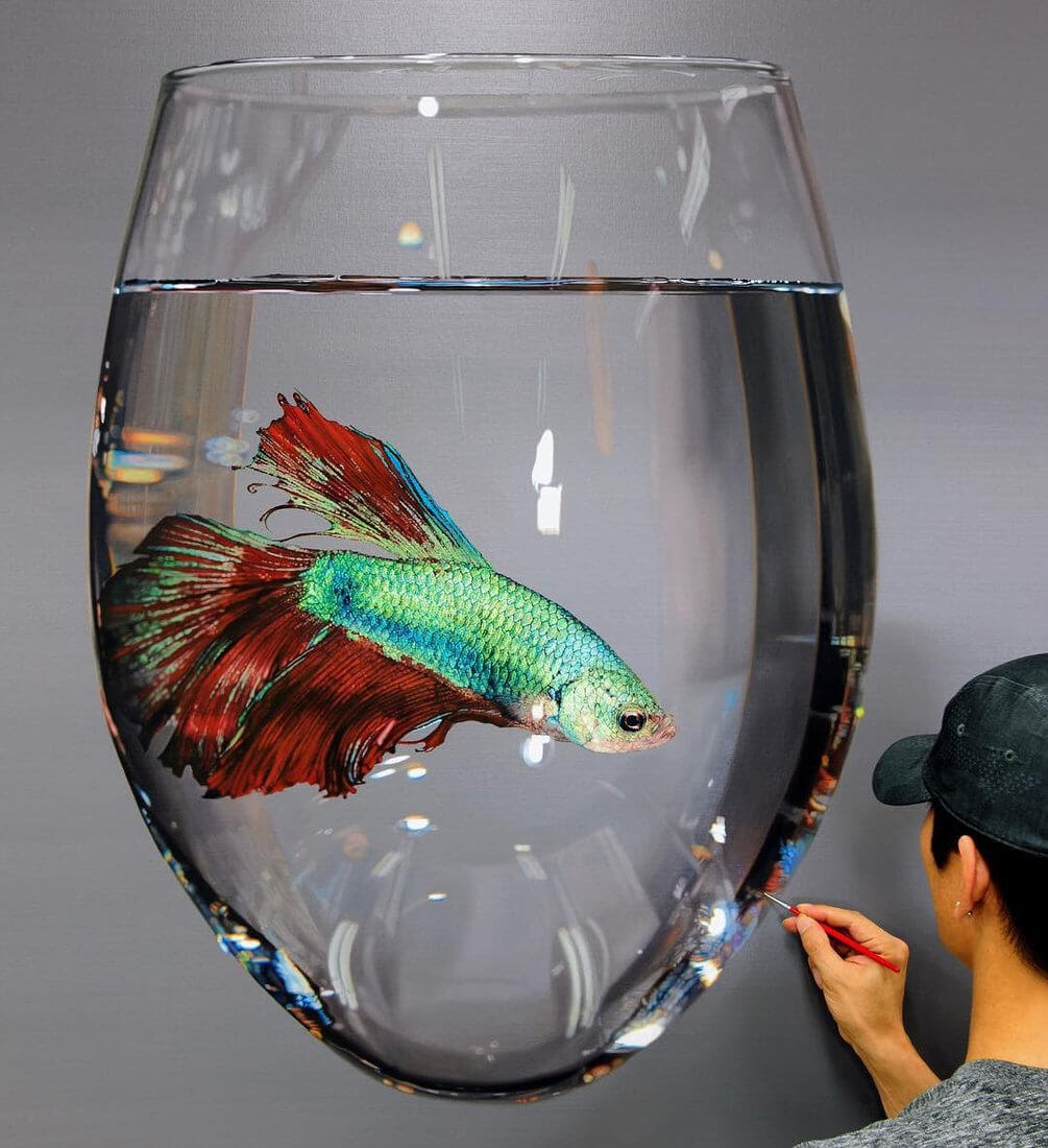 07-Siamese-fighting-fish-Young-sung-Kim-Realistic-Animal-Oil-Paintings-on-Canvas-www-designstack-co