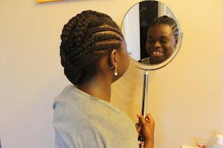 Standing Mirror Natural Hair Kids Hairstyle Cornrow Twists Teen