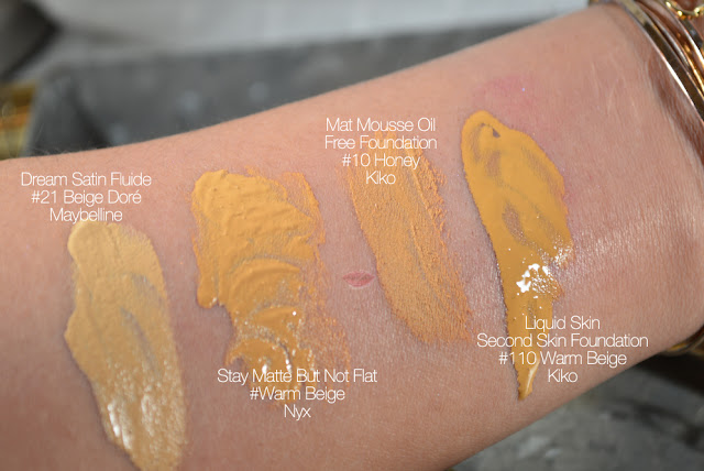 A picture of foundation swatches Dream Satin in Beige Dore by Maybelline, Mat Mousse in 10 Honey and Liquid Skin in Warm Beige by Kiko