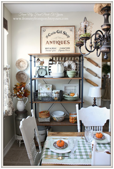 Bakers Rack-Farmhouse Style-Open Shelving- Fall Kitchen--From My Front Porch To Yours
