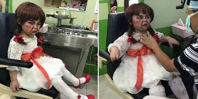 Bikin Ngakak Kelakuan Bocah Ini Pergi Ke Dokter Gigi Pakai Kostum Anabelle, Untuk Menakuti Dokter Gigi