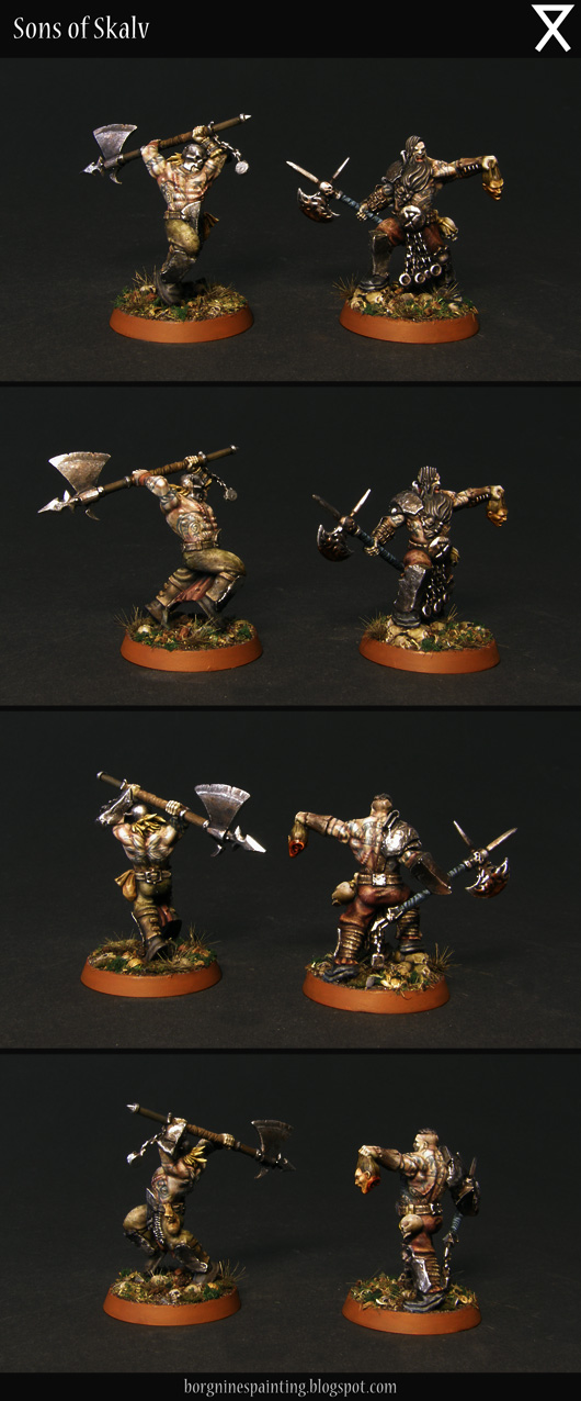 Garrek and Sarrek miniatures standing together - their weapons are less ornate, colors muted and dirty and with more hair sculpted on them. They have nordic tattoos freehanded on thier skin.