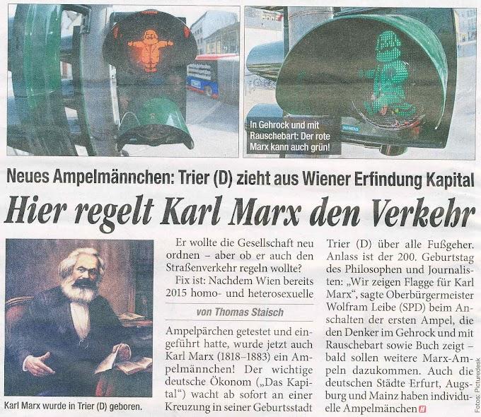Образът на Карл Маркс - вграден в сфетофари в Германия