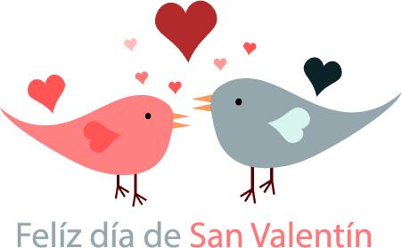 Amor entre pajaritos en San Valentín - Vector