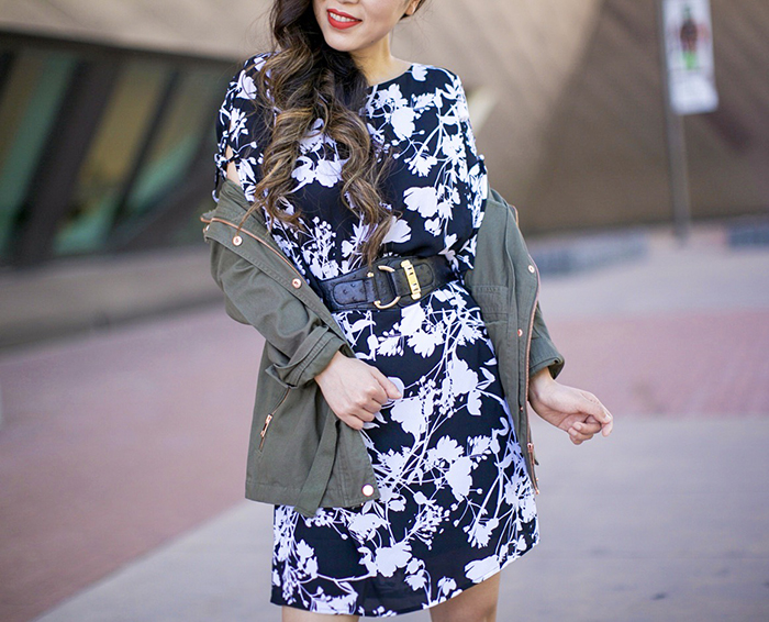 Worthington cascade sleeve dress, St. John's Bay utility jacket, fall fashion, fall outfits