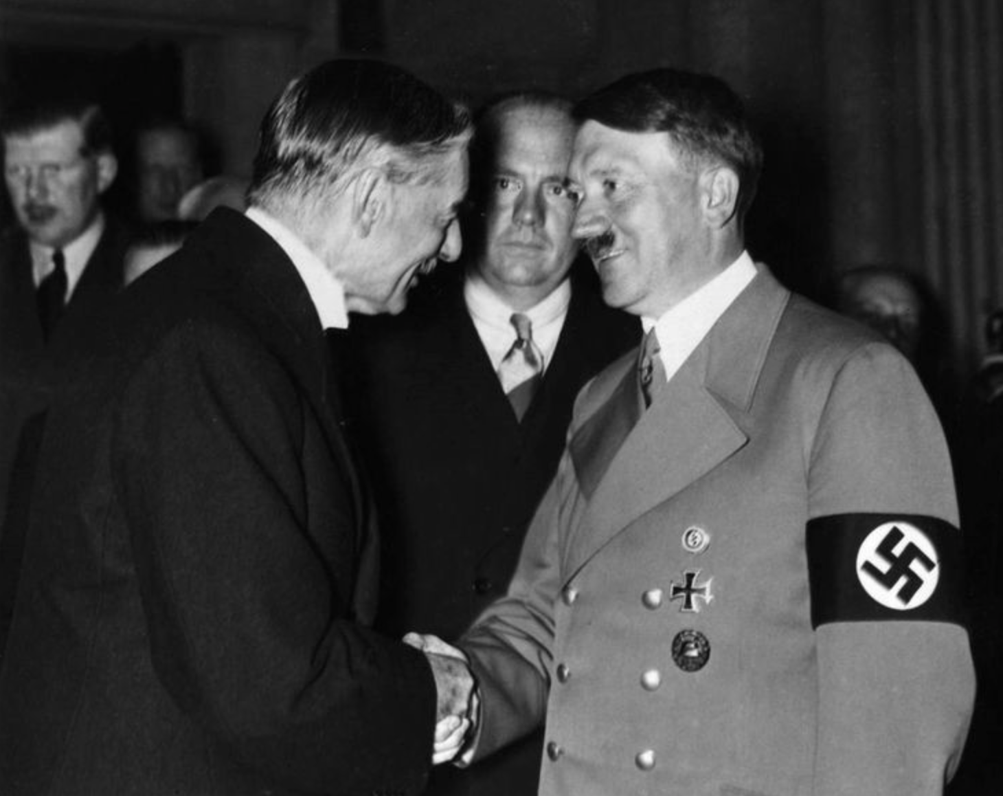 Image result for Chamberlain and Hitler shaking hands