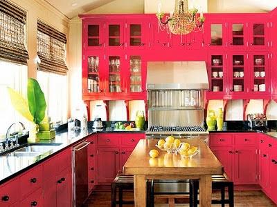 Cocina decorada rosa
