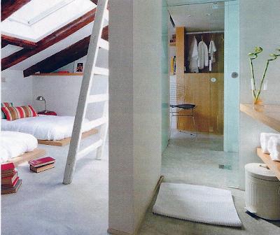 Ambientes integrados: Quarto com Vestiário e Casa de Banho (Banheiro) em Open Space