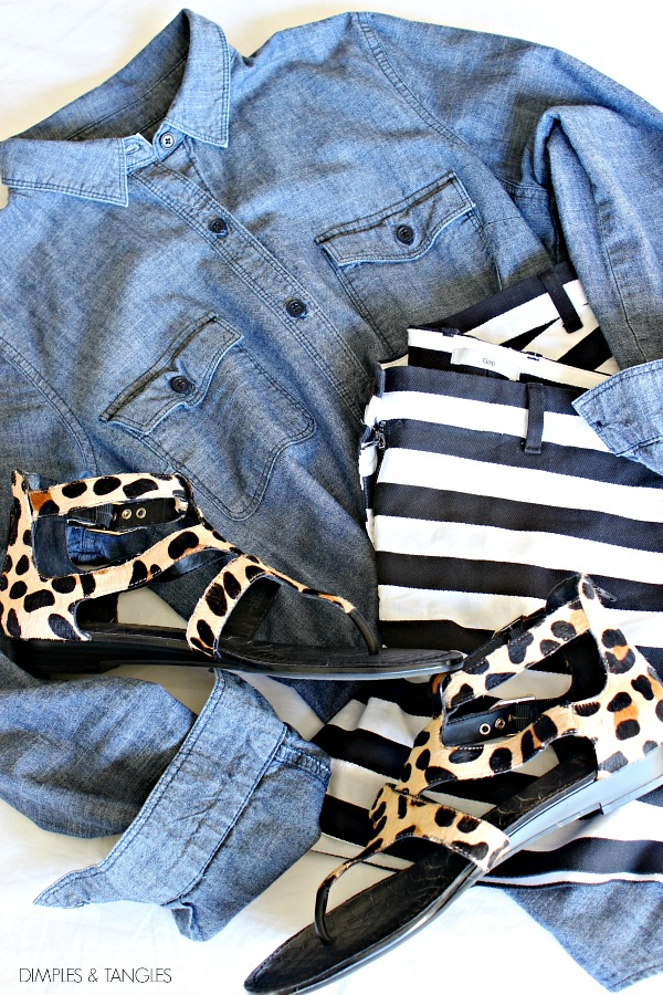 leopard sandals, chambray shirt, black and white striped shorts