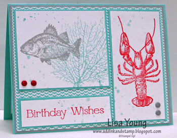 Stampin' Up! By the Tide stamp set. Lobster and Fish card. Handmade Birthday Card by Lisa Young, Add Ink and Stamp