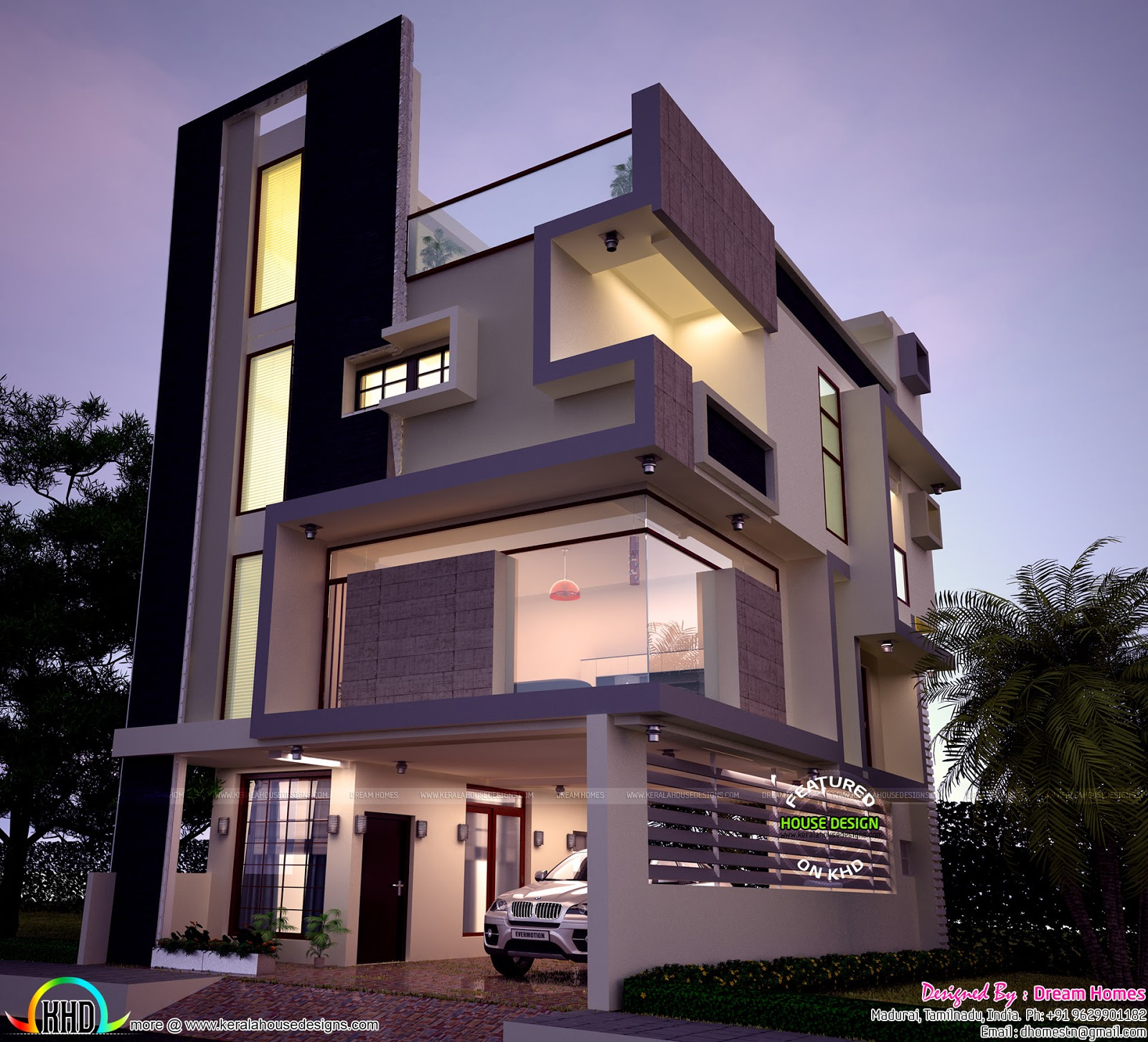 30x40 contemporary three storied home kerala home design for Top 50 modern house design