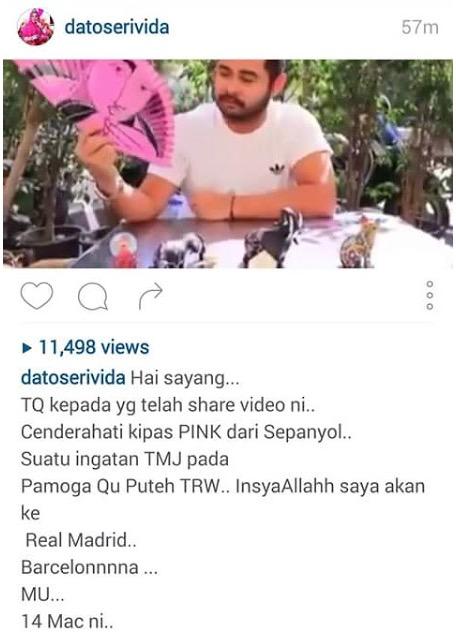 Respon Datuk Seri Vida Selepas TMJ Beli Cenderahati Kipas Pink Untuk Kelantan