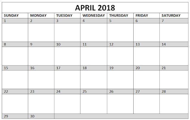 April 2018 Calendar PDF, April 2018 Calendar Word, April 2018 Calendar Excel