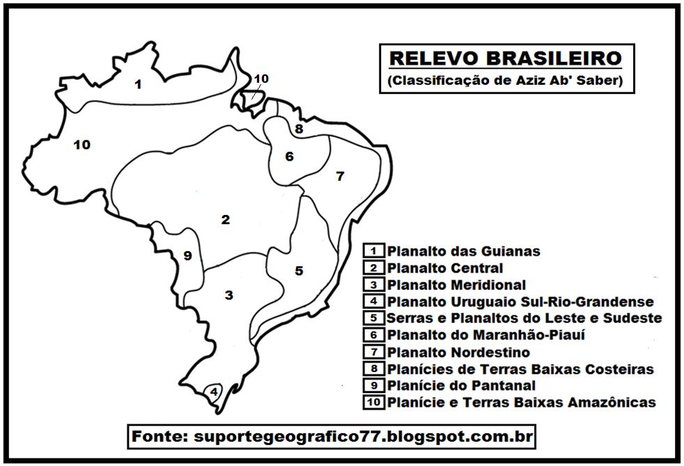 mapa relevo do brasil para colorir suporte geográfico