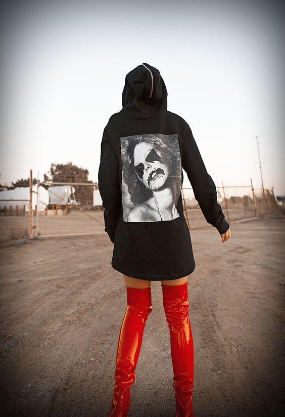 Jennifer Grace the Native Fox Alyx Graphic Hoodie Red Knee High Patent Leather Boots
