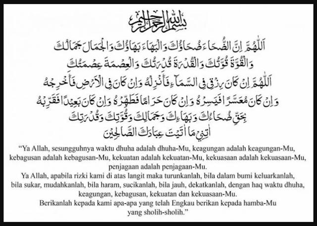 Do'a Sholat sunnah dhuha dan Artinya
