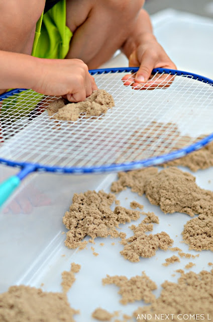 Fine motor activity for kids using kinetic sand from And Next Comes L